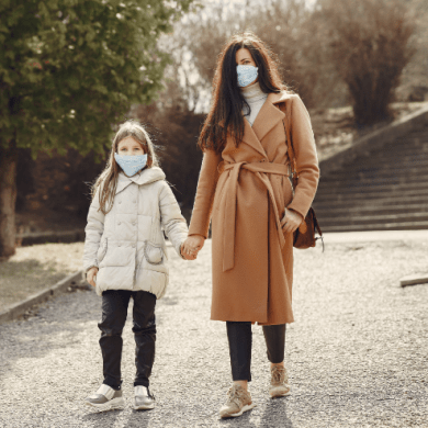 Mother and daughter walking
